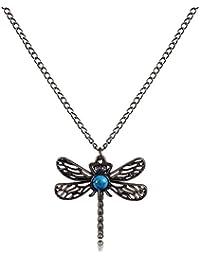 Yazilind tallado retro cristal Resina Libelula cadena collar colgante de joyeria de las mujeres
