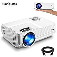 """FunLites 4000lux Portable Video Projector,Supported 1080P Mini Movie Projector with 200"""" Display 50,000 Hrs, LED HD Projector Compatible with Fire TV Stick,PS4,HDMI,VGA,AV and USB(Latest Upgrade"""