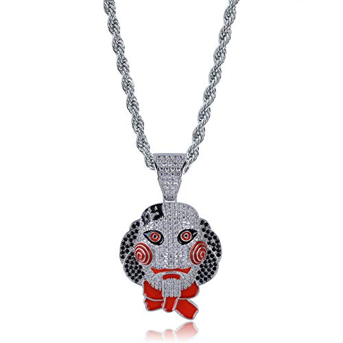 alskette Chainsaw Fear Jigsaw Mask Doll Pendant Halloween Full Zircon Fashion Schmuck,Silver ()
