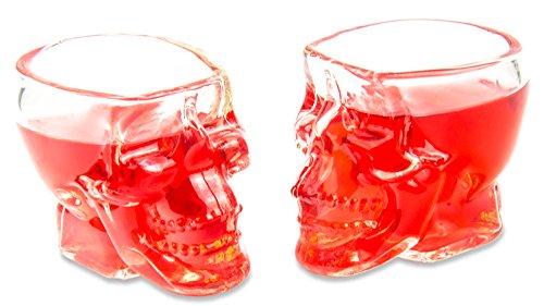r (60ml), 3D Totenkopfgläser für die Hausbar, Party, Halloween, Geschenk im Totenkopfdesign, für Vodka, Whiskey, Party, Rock, Metal, Totenkopf, Schnapsglas, Farbe: Transparent ()
