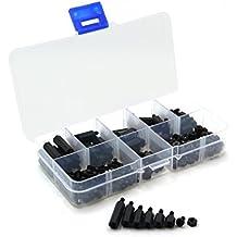 Rosenice 300pcs M3 Nylon Hex Abstandhalter Schrauben Muttern Kit (schwarz + weiss)