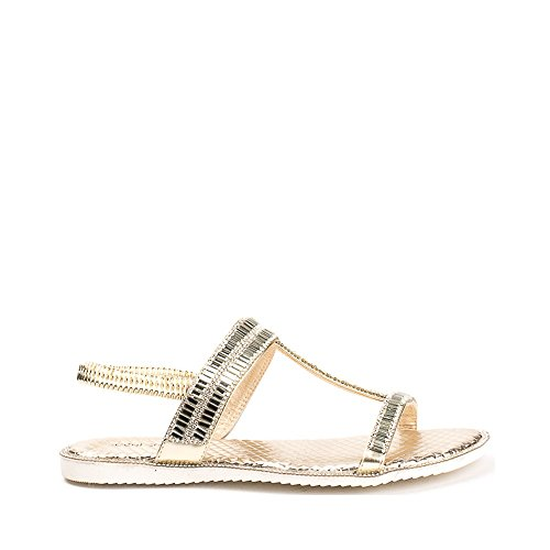 Ideal Shoes Sandales Plates avec Bride Incrustée de Strass Talania Doree
