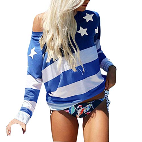 AMUSTER Bluse Damen Frauen American Flag Print Casual Sommer Camis Tank Tops Bluse Lose T-Shirt