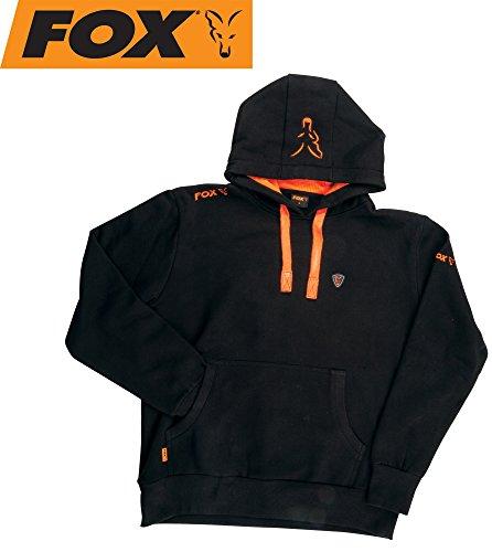 Fox Black / Orange Hoodie Kapuzenpullover, Pullover mit Kapuze, Angelpullover, Anglerpullover schwarz/orange, Größe:XXL