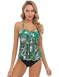 Abollria Traje de Baño en Dos Piezas Sexy Mujer Tankini Vest + Short de Baño Traje Conjunto de Bañador Swimsuit para el Mar, Playa, Piscina, Fiesta, Vacaciones