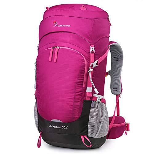 MOUNTAINTOP Rucksack mit Regenschutz, 50 l, 55 l, 60 l, 65 l, 50L-Purplish red