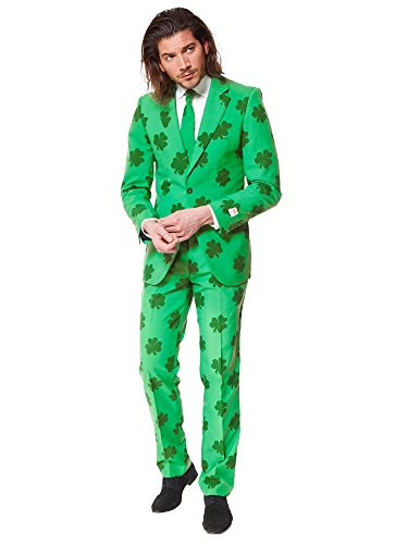 Opposuits Patrick Suit for St. Patrick's Day Coming with Green Pants, Jacket, Tie and Free Shamrock Pin (Green Jacket Herren Suit)