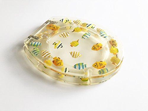 ADOB WC Sitz Klobrille transparent mit Fischen aus Polyresin, 41341