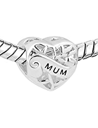 f08dc06bf Pugster Heart Mum I Love You Filigree 925 Sterling Silver Charms Sale Cheap Bead  fit Pandora