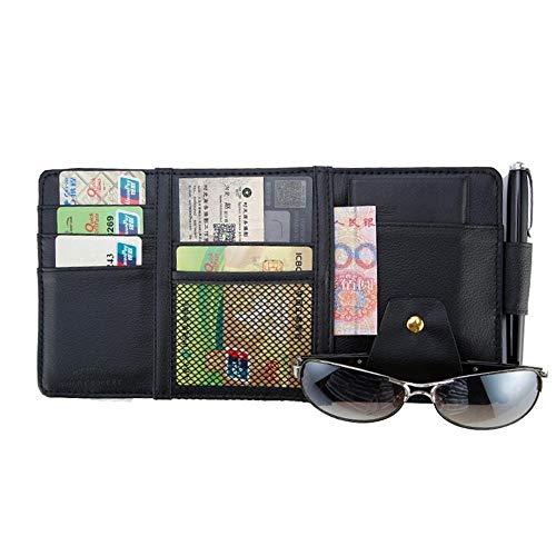 Auto Styling Visier Organizer Auto Sonnenblende Aufbewahrungstasche Auto Organizer Sonnenbrille Inhaber Kartenorganisator Ticket Tasche Stifthalter (Color Name : Black)