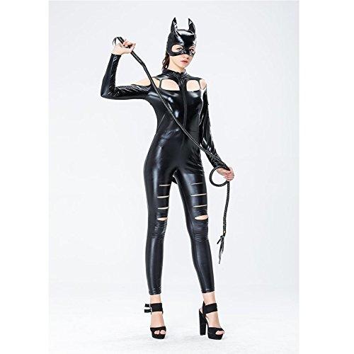 Cosplay Lackleder Kunstleder PVC In Verbindung gebracht Catwoman Kleidung Halloween Lackleder Katzen-Outfit
