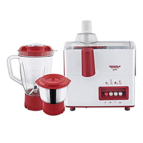 Maharaja Whiteline Gala JX-117 450-Watt Juicer Mixer Grinder with 2 Jars (White & Maroon)