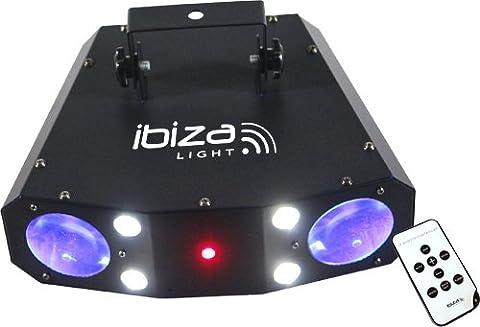 Ibiza Quadra Moon LED-Lichteffekt Discolicht LED Scheinwerfer Party Strahler (RGBAW, 228 RGBAW-LEDs und 4 Linsen, XLR, DMX, Automatikmodus , Musiksteuerung)