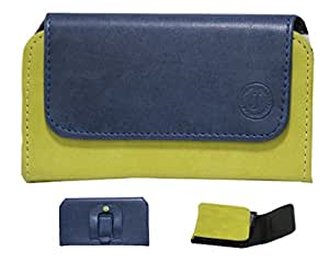 Jo Jo A4 Nillofer Belt Case Mobile Leather Carry Pouch Holder Cover Clip For Reliance Jio Lyf Wind 6 Dark Blue Parrot Green