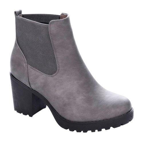 Damen Stiefeletten Ankle Boots Plateau Stiefel Schuhe B2 (40, Grau)
