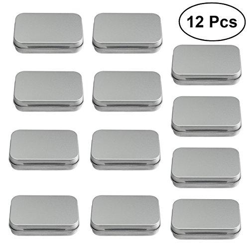 ROSENICE 12 Stücke kleine Metalldosen, Multifunktions Aufbewahrungsbox Container aus Metall für Kleinteile Lagerung (Silber)