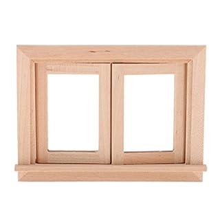 Homyl Miniatur Puppenhausmöbel aus Holz für 1/12 Puppenhaus Zimmer Dekoration - Fensterrahmen - A