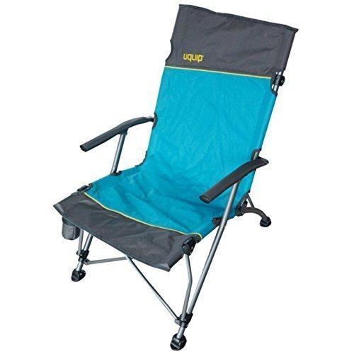 Campingstuhl mit Lounge-Charakter + Getränkehalter | extra hohe Rückenlehne 99cm| stabile Ausführung bis 120kg | breite Füße für weichen Boden | robuste Transporttasche | Uquip Sidney 244003