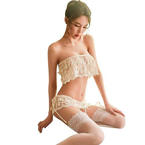 ESZH Sexy Dessous Dessous Frauen Lace Screen Gaze Tube Top Split Verführerische Pyjamas Sexy Nachthemd Star Wrapped Brüste Universalgröße Schwarz,2