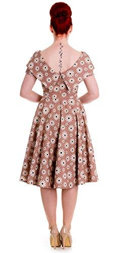 Ligne bunny cINDY marguerite pin up 50s swing robe rockabilly Multicolore - Caramelfarben mit weißen Blüten