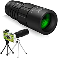 Super Clear 16x52 Monocular Telescope,SGODDE Day & Night Vision Monocular, Dual Focus Optics Zoom Portable Monocular for BirdWatching, Traveling, Outdoors, SightSeeing, sport watching,Climbing(Phone Adapter and 2X Tripod)