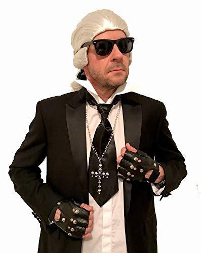 shoperama Karl Kostüm Zubehör Set oder Einzelteile Perücke Krawatte Brille Stehkragen Handschuhe Schleife Fächer Color Haarspray, Variante:Perücke