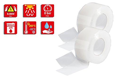 Poppstar 2x 3m selbstverschweißendes Silikonband, Silikon Tape Reparaturband, Isolierband und Dichtungsband (Wasser, Luft), 25mm breit, transparent