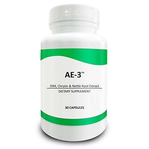 Pure Science AE-3 Chrysin mit DIM und Brennessel Wurzel Extrakt - natürlichen Aromatasehemmer & Östrogen Blocker für Männer - 30 Kapseln