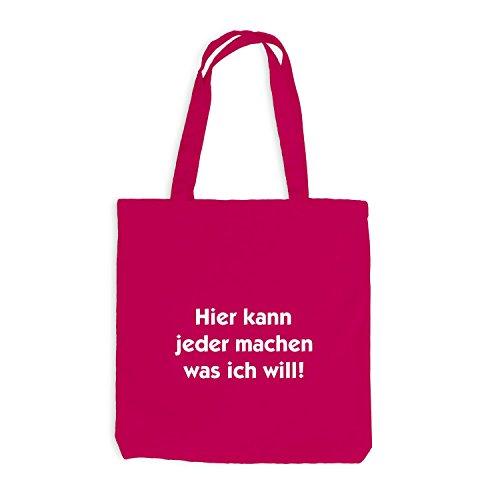 Jutebeutel - Hier kann jeder machen was ich will! - Job Work Fun Pink
