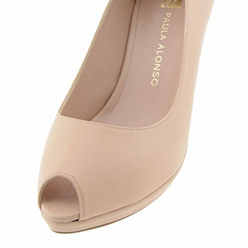 chaussures et plateforme peep-toe en cuir Beige