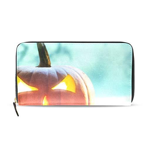 Halloween-Kürbis-Geldbörse für Frauen, Kartenfächer, modisch, mit Reißverschluss, Lange Geldbörse und Kartenhalter