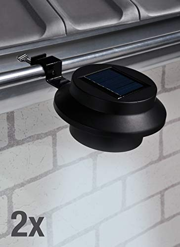 Kamaca 2er Set LED SOLAR Dachrinnenleuchte wetterfeste Solar Außenleuchte Sicherheitslicht je 3 LED (2er Set LED Solar Dachrinnenleuchte schwarz)
