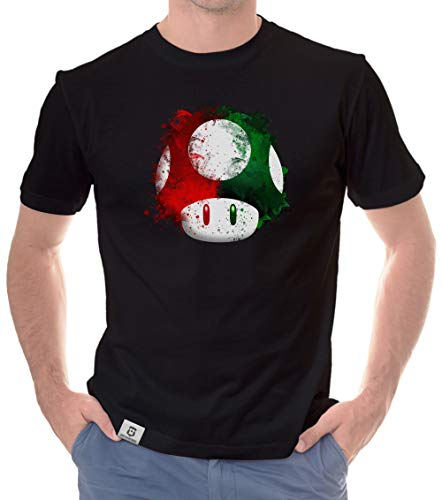 Shirtdepartment - Herren T-Shirt - Super Mario - Pilz schwarz-rot XXXL (Super Nintendo-bekleidung)