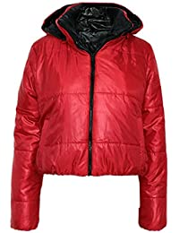 Candy Floss New Ladies Puffer Wet Look Detachable Padded Hood Jacket Coat Top Womens Zip