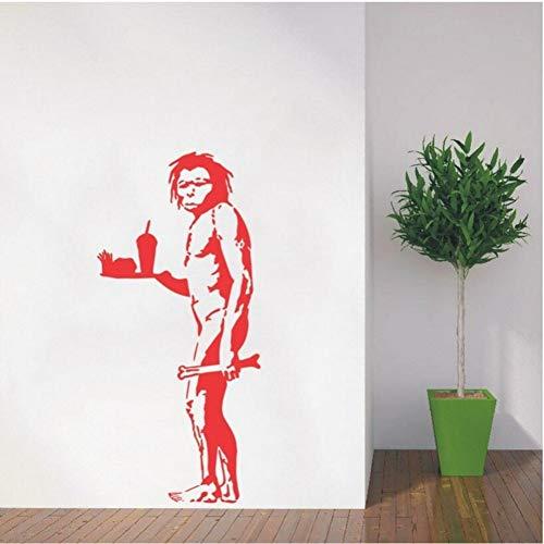 Cmhai Wandtattoo Vinyl Aufkleber Banksy Caveman Mit Pommes Frites Art Home Design Haus Diy Dekoration Re Tapeten Wandbild Poster 42 * 90 Cm