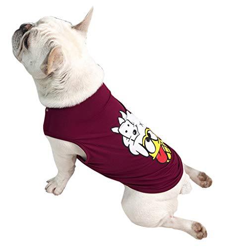 T.boys's Haustier Pet Shirt Welpen T-Shirt Herbst Weiches Komfort Kostüme Super süße Welpen Weste Dog Shirt weiches Sweatshirt ärmelloses Kostüm für kleine Hunde (Red, XL) - Komfort Ärmellos