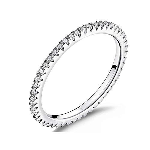 J-Z Fashionring Klassische 925 Sterling Silber Kreis Klar Cz Geometrische Stapelbare Ringe für Frauen Hochzeit Schmuck Geschenk, Ring, 5 - Ringe Cz Herren Alle