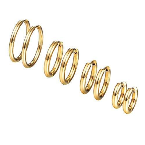 PROSTEEL 4 Paare Creolen Ohrringe Set Huggie Kreolen Ohrringe Edelstahl Hoop Klappcreolen Ohr Piercing 10mm 14mm 16mm 20mm 4 Größe Set, gold (Gold Hoop Ohrringe)