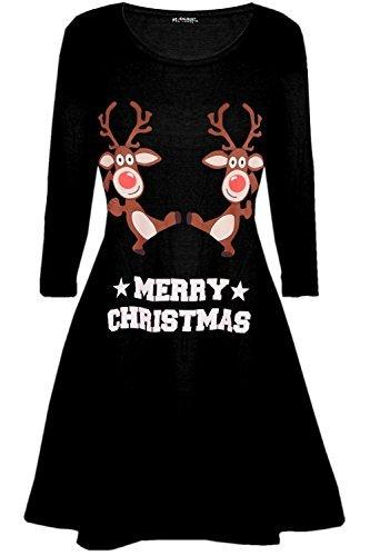 ta Rentier Wall Schneeflocken Kostüm Weihnachten Swing Kleid UK Übergröße 8-26 - tanzende Rentier schwarz, Plus Size (UK 24/26) (Weihnachten Santa Kleid)