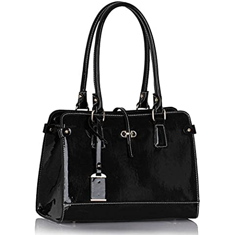 Womens Designer Bags Patent Shoulder Celebrity Style Tote Fashion Handbag (Various Colors, Sizes, and Designs) - Special Discounted Prices