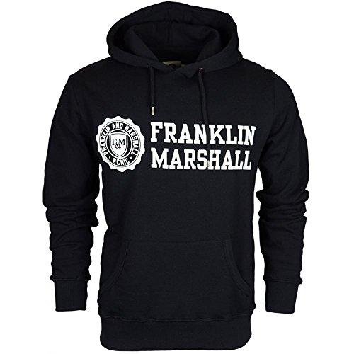 Franklin-Marshall-MF436-Printed-Crest-Logo-Black-Hoodie