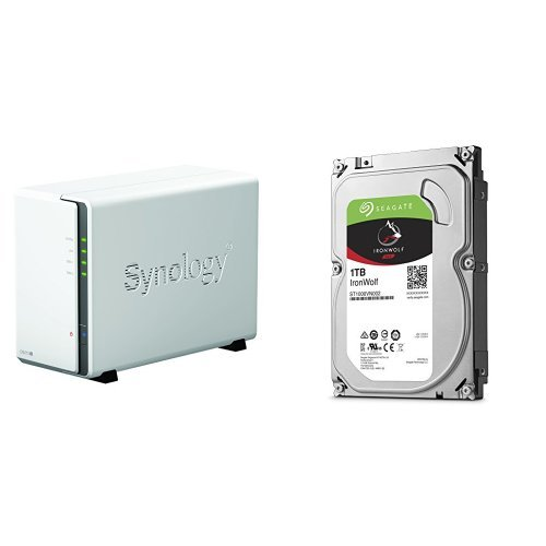 Synology DS216j 2-Bay Desktop NAS-Gehäuse, inklusive 2 x Seagate IronWolf 1 TB, ST1000VN002, interne Festplatte, 8,9 cm (3,5 Zoll), 64 MB Cache, 5900 RPM SATA 6Gb/s (2 TB)