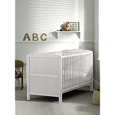 COT BED/JUNIOR BED LUXURY WHITE FINISH WITH FREE MATTRESS  Vladon