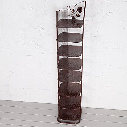 klein schmal schuhregal Metall weiß schwarz Für Stiefel-Balkon-Eingangs-Eckeingang 3 Bis 6 Reihen-stapelbares Regal (Farbe : Bronze, größe : 8 Tier) (3-tier-regal)