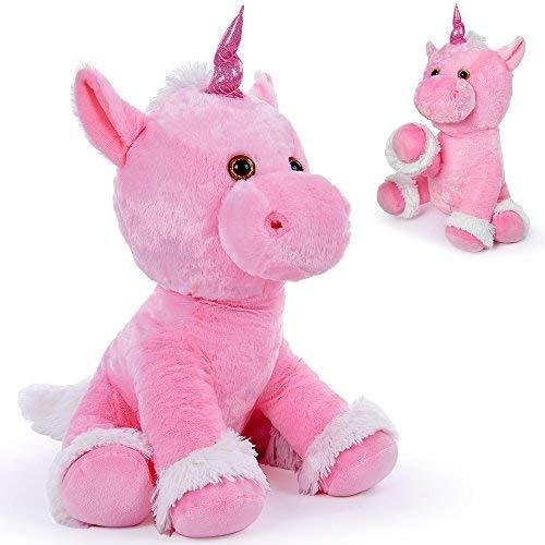 Monzana Plüsch Kuscheltier Einhorn | für Babys und Kinder | beweglich | Allergiker geeignet | 72 cm groß | 80er Look | XL Plüschtier Stofftier Pink