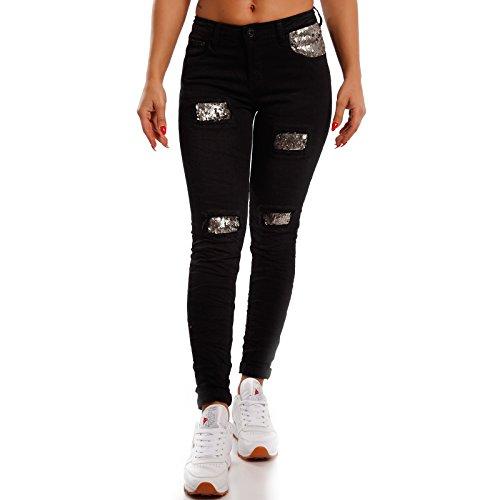 Young-Fashion - Jeans - Skinny - Uni - Femme Noir