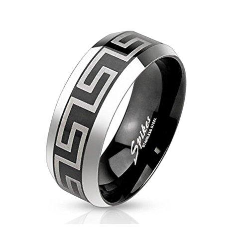Paula & Fritz anello in acciaio inossidabile 316L 6mm di larghezza fascia nera con incisione laser, motivo labirinto sul cristallino manico disponibile anello misure 47(15)-69(22); Pure m3651, acciaio inossidabile, 17,5, colore: silver, cod. R-M3651_80