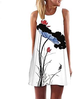 HARRYSTORE 2017 Vintage Boho vestido de verano de las mujeres calientes sin mangas vestido de playa impreso Mini vestido corto