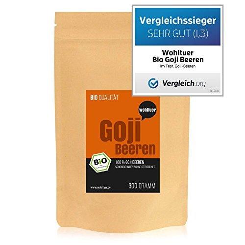 Wohltuer Bio Goji Beeren   Glutenfrei, Cholesterinfrei, Nährstoffreich   Vegan   vielseitiges Lebensmittel in geprüfter Bio-Qualität (300g)
