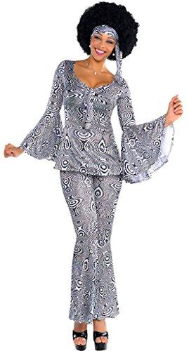 Kostüm Set 60er Jahre Kleid Hose Haarband Fledermausärmel Schlager-Move Festival Hippie, S/M, Mehrfarbig (Deutsches Bier-lady-kostüm)